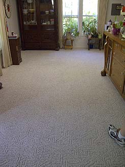 After stained carpet cleaning.